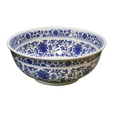 Porcelain Basin, Sink Bowl With Blue and White Motif, Floral