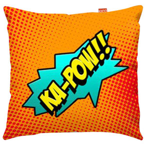 Comic Ka-Pow Orange Sofa Cushion, Large, 80x80 cm