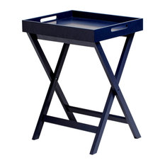 """Dion 24.5"""" Rectangular Butler Tray Table With Folding Legs, Blue"""