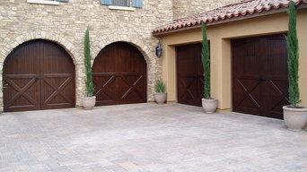 Motor court with hand built custom wood doors