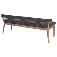Moderno Bench, Black Marble Leather