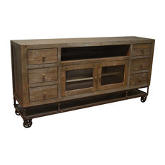 Crafters and Weavers - Greenview 7Forged Iron Base TV Stand - Entertainment Centers and Tv Stands