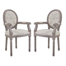 Modway Arise Vintage French Upholstered Fabric Dining Armchair Set Of 2 Beige