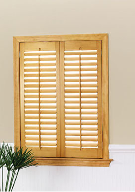 Golden Oak Stained Finish w/ Dark Pewter Hinges - Window Treatments