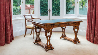 Antique Carved Walnut Irish Writing Desk or Library Table by Dublin *W F Fry & C