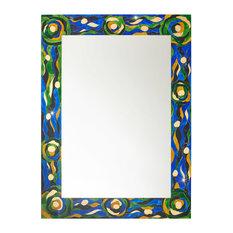 Aqua Rectangular Wall Mirror, Blue