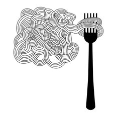 """Pasta and Fork Wall Sticker, 44""""x50"""""""