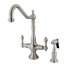 Kingston Brass Heritage Two Handle Single-Hole Kitchen Faucet, Brushed Nickel