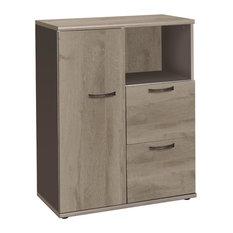 Osaka 1-Door 2-Drawer Filing Storage Cabinet, Brown