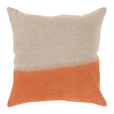 "Dip Dyed Pillow, Khaki/Burnt Orange, 22""x22"", Down Insert"