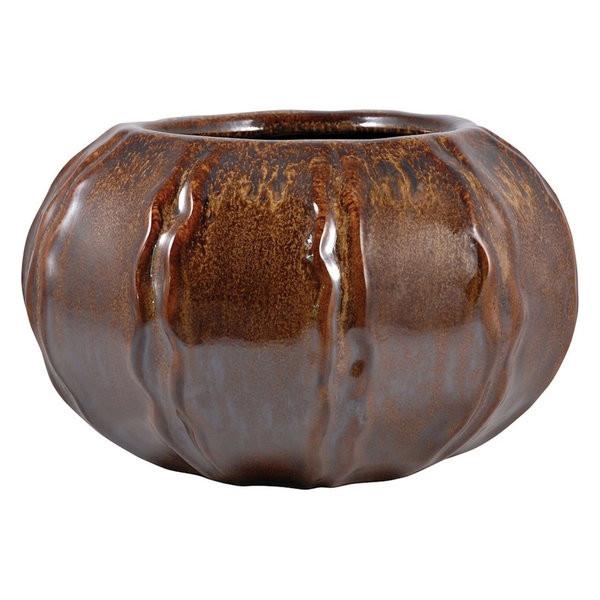 11.75 inch diameter planter. Made from ceramic. Glazed truffle finish.