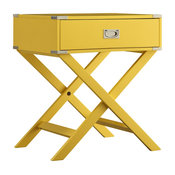 Alastair Wood Campaign Accent Table Nightstand, Yellow