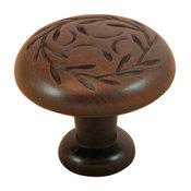 Stone Mill Hardware Oil Bronze Leaf Cabinet Knob