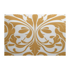2x3', British Colonial, Geometric Print Indoor Outdoor Rug, Gold