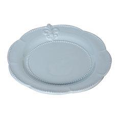 Blue Ceramic Fleur-de-Lis Salad Plates, Set of 4 Plates