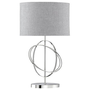 Searchlight Silver Rings Table Lamp, Polished Chrome Finish