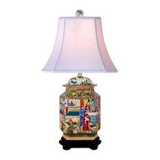 "Oriental Chinese Porcelain Rose Canton Hexagonal Temple Jar Table Lamp 25"""