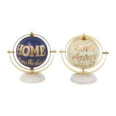 Modern Lettered Globe Decor, 2-Piece Set