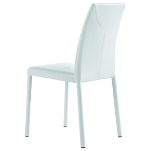 Marlene White Leather Chairs, Set of 2