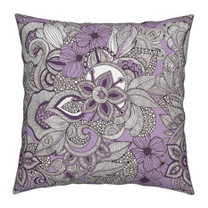 Flowers Doodles Purple Brown Nature Abstract Throw Pillow Velvet