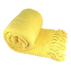 "Tweed Throw Blanket, Sunshine Yellow, 50"" x 60"""