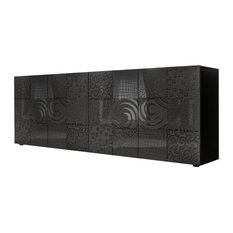 Miro II Decorative Sideboard, 241 cm, Grey Gloss