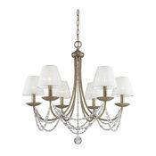 Mirabella 6-Light Chandelier, Golden Aura, Pearl Chiffon Shade