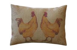 "French Hens Burlap Pillow, 12""x16"""