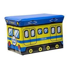 Kids Folding Ottoman Storage Seat Toy Box, Train, Large