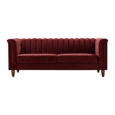 3 Seater Sofa Velvet Upholstery With Channel Tufting Great For Comfort Burgun