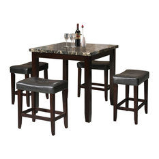 Acme Ainsley 5-Piece Counter Height Set in Black and Espresso Finish 70728