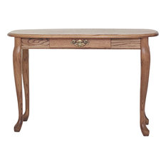 Solid Oak Queen Anne Sofa Table with Drawer, Autumn Oak