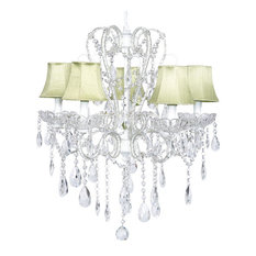 5-Light White Carousel Chandelier With Green Shades