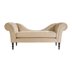 Carey Tufted Chaise Lounge, Beige