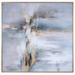 Uttermost - Uttermost Road Less Traveled Abstract Art - Antique Gold Leaf Gallery Frame, Hand Painted, Abstract, Light Gray, Charcoal, Gold Leaf, White