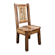 Side Chair, Stain and Clear Lacquer Finish With Ergonomic Wooden Seat