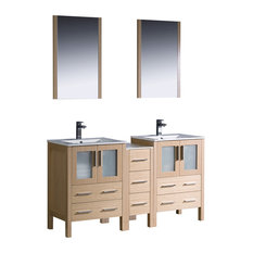 "Torino 60"" Light Oak Double Sink Bathroom Vanity, Side Cabinet, Integrated Sinks"