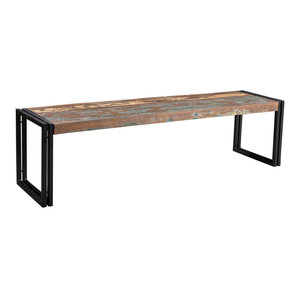 Old Reclaimed Bench With Metal Legs, 60