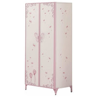 Contemporary Armoire, Sturdy Metal, 2 Doors White and Light Purple Finish