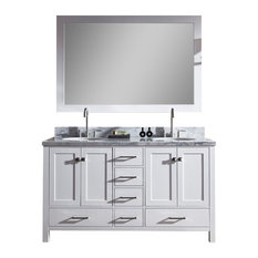 "Ariel Cambridge 61"" Double Sink Bathroom Vanity Set, White"