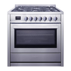 Ancona 36� Gas Range 5 Burners Convection Oven Stainless