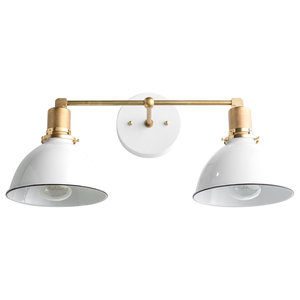 Brass Industrial White Dome Shade Vanity Light