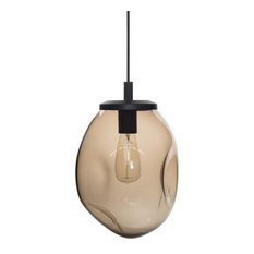 "Pendant Light Handblown Glass Organic Contemporary Hanging Light, Brown, 11.8"""