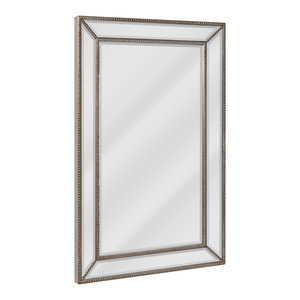 Head West Beaded Champagne Silver Beveled Wall Mirror 24x36 Traditional Wall Mirrors By Head West Inc