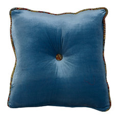 Teal Velvet and Paisley Tufted Pillow