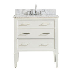 Arlington Vanity, White Finish With Carrera White Marble Top, 31""