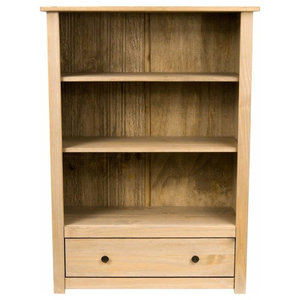 Traditional Bookcase Unit, Solid Pine Wood With 1 Drawer and Open Shelves