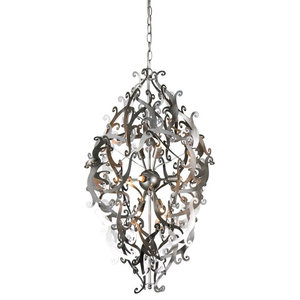 Mila 8-Light Candle Chandelier, Silver