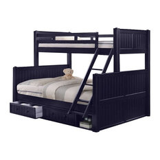 Annapolis Blue Twin over Queen Bunk Bed with Storage Drawers