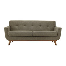 Griffon Upholstered Fabric Love Seat/Oatmeal